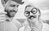 Just For Fun. Humor And Laugh Concept. Couple Posing With Party Props Sky Background. Photo Booth Pr poster