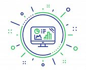 Analytics Graph Line Icon. Column Chart Sign. Growth Diagram Symbol. Quality Design Elements. Techno poster
