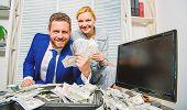 Huge Profit Concept. Counting Money Profit. Financial Success. Man Businessman And Woman Secretary W poster