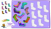 Logic Puzzle Game For Kids. Need To Find The Pair Of Each Boot And Paint Them By Identical Ornament. poster
