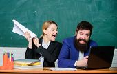 Back To School. Informal Education. Business Couple Use Laptop And Documents. Businessman And Angry  poster
