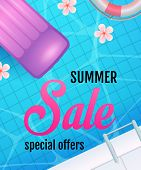 Summer Sale Lettering With Swimming Pool Water And Air Mattress. Tourism, Summer Offer Or Sale Desig poster
