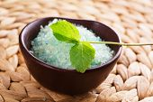 stock photo of personal care  - Bath salt and sprig of mint - JPG