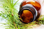 foto of essential oil  - Bottle of fir tree essential oil - JPG