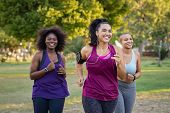 Group of curvy girls friends jogging together at park. Beautiful smiling young women running at the  poster