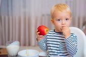 Baby Nutrition. Eat Healthy. Toddler Having Snack At Home. Child Eat Porridge. Kid Cute Boy Blue Eye poster