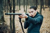 Hunting Weapon Gun Or Rifle. Military Fashion. Achievements Of Goals. Girl With Rifle. Chase Hunting poster