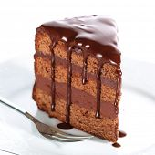 pic of brownie  - Piece of chocolate cake with icing on white isolated background - JPG