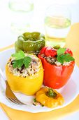 stuffed peppers with rice, mushrooms and onions
