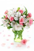 image of rosa  - Beautiful bouquet alstroemeria and rose on white isolated background - JPG