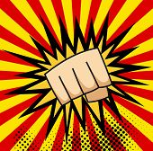 A pop art cartoon comics poster with fist and explosion bubble on comic background. poster
