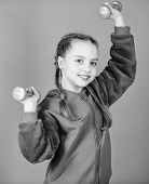 Weight Lifting For Muscules. Weight Loss. Workout Of Small Girl Hold Dumbbell. Sport Success. Fitnes poster