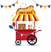 Fast Food Hot Dog Cart And Street Hot Dog Cart. Hot Dog Cart Street Food Market, Hot Dog Cart Stand  poster