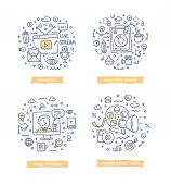 Doodle Illustrations Of Online Video, Video Marketing Analytics, Promotional Video And Video Tutoria poster