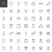 Clothes And Accessories Line Icons Set. Linear Style Symbols Collection, Outline Signs Pack. Vector  poster
