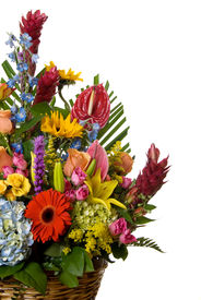 stock photo of gift basket  - basket full of blooming exotic colorful flowers - JPG