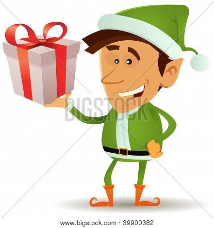 Christmas Elf Holding Gift