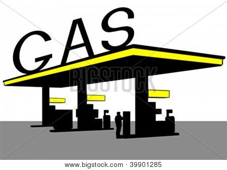 Vector drawing of building a large gas station