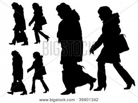 Vector image of old women with shopping bags