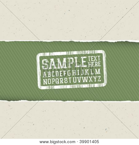 Recycle paper background with torn edges and alphabet for headlines. Ecology template, vector, EPS10