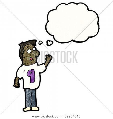 cartoon man in number 9 shirt