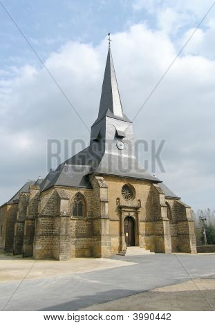 Medieval Church In Small French Village