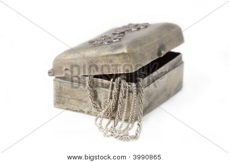 Cupronickel Case With Silver Chains Out Of It