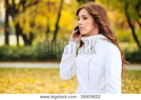 Beautiful young woman using phone in autumn park
