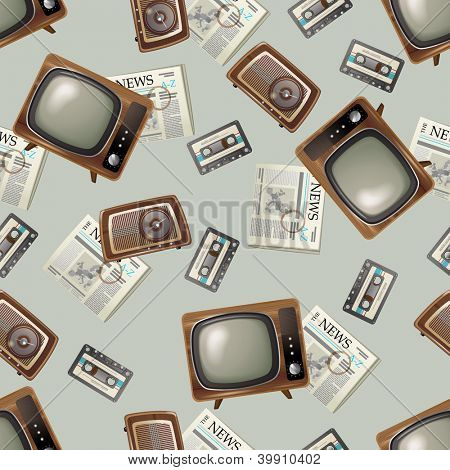 Retro-styled seamless background with tv, radio, audio cassetes and newspapers. EPS 10