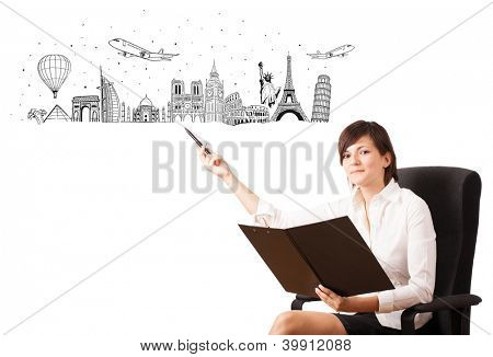 Young woman presenting famous cities and landmarks isolated on white