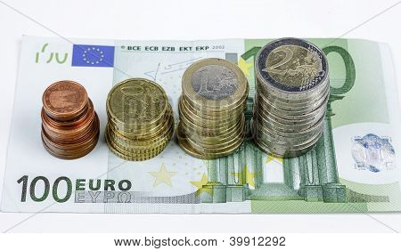 Close-up Of Euro Banknotes And Coins