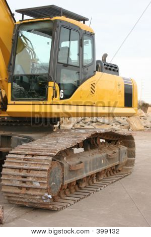 Side View Of Excavator