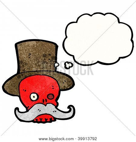 cartoon wealthy skull in top hat