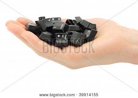 Human hand held computer keyboard keys