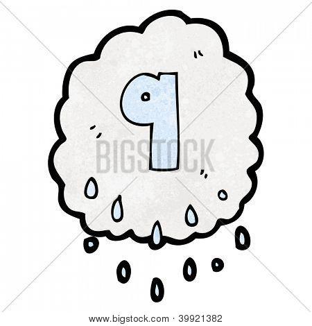 cartoon rain cloud symbol with number nine