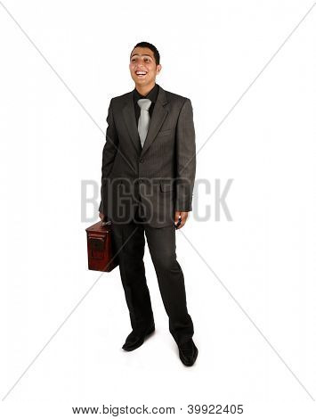 Man holding an old suitcase isolated over white background