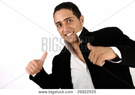 Young happy man with his thumbs up