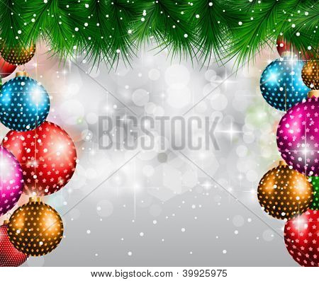 Elegant Classic Christmas flyer with tree leaves, a lot of baubles and glitter baclground. Ideal for celebratiion or invitation flyers.