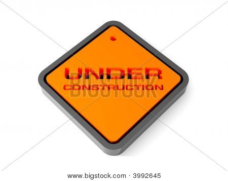 Under Construction Sign. Rendered Image.