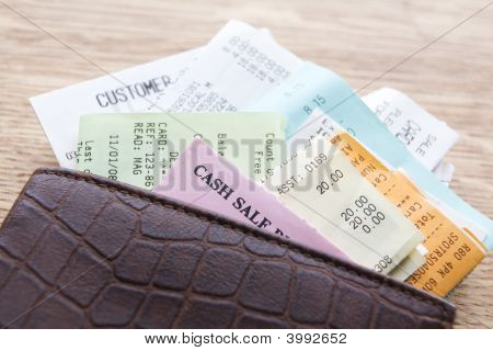 Leather Wallet Containing Receipts