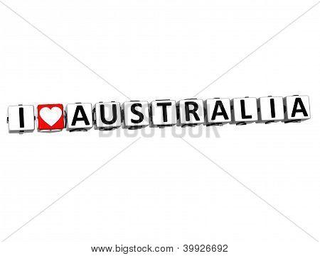 3D I Love Australia Button Click Here Block Text