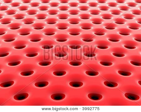 Abstract Red High-Tech Mesh Structure. 3D Rendered Image.