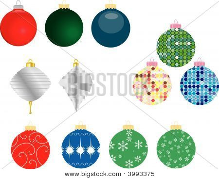 Set Of 12 Christmas Ornaments
