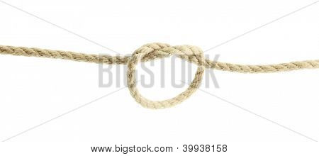 rope with knot, isolated on white