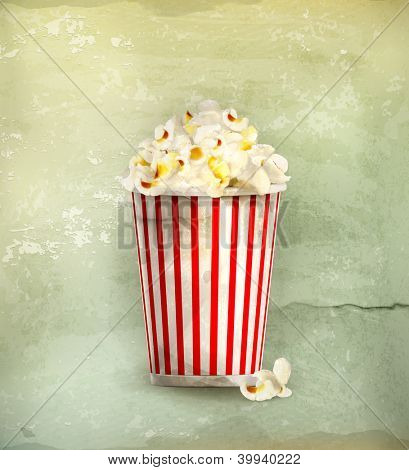 Popcorn, old-style vector