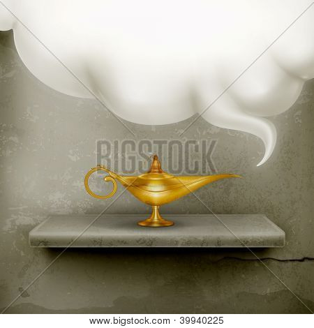 Oil Lamp, old-style vector