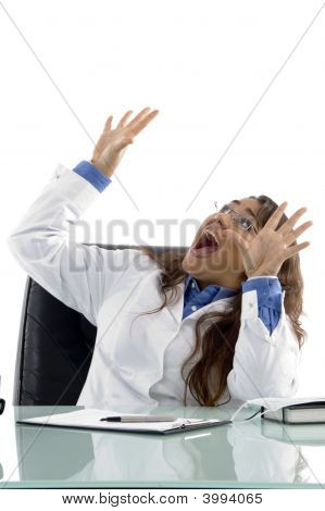 Shouting Doctor Looking Upward