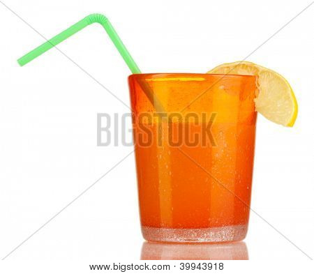 Delicious multifruit juice isolated on white