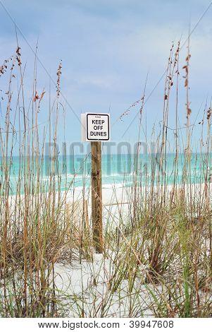 Keep Off Dunes Sign On Beautiful Florida Beach