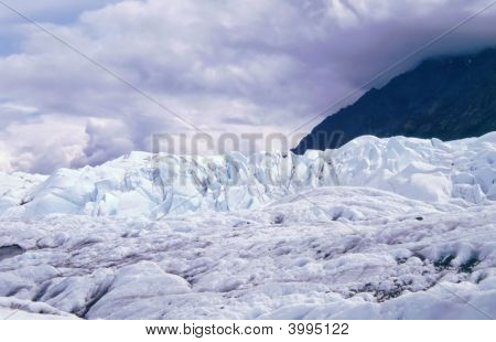 Matanuska Glacier Against Mountains Near Palmer Alaska